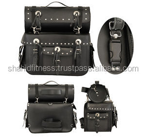 Leather bike Tool Bag - Motor bike sissy bar tool bag Black FC-34114
