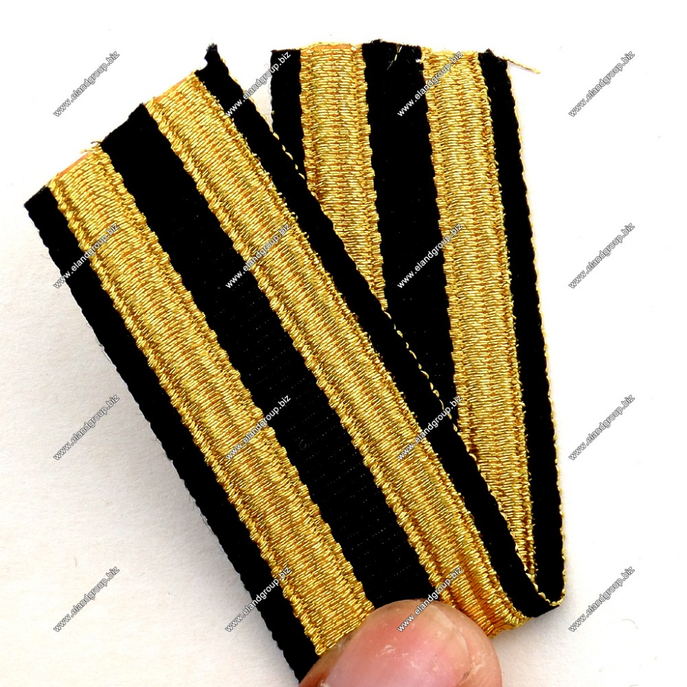 Black Lace Double Golden Stripe Fancy Military Braid | Silver Lace Trim