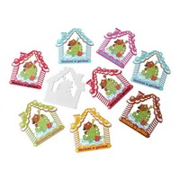 Wood Charm Pendants At Random Christmas Tree Snowhouse Pattern 6.8cm x 6.6cm, 20 PCs