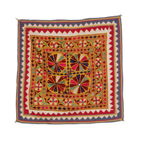 Gujarati chakla Cotton embroidery vintage old kutch Wall Decor Table Cover