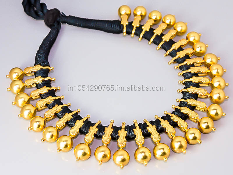 MATTE GOLD BLACK THREAD 925 STERLING SILVER JEWELRY NECKLACE