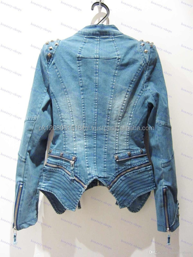 high fashion 2017 oem service zipper jeans jacket coat for women girls ladies custom made