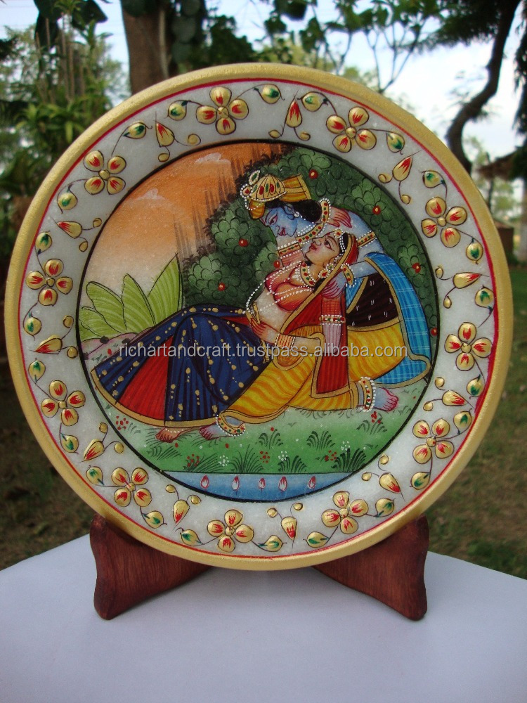 Rich Arts And Crafts Religious Gift Decor Gallery Hindu God Krishna Rajasthani Painting