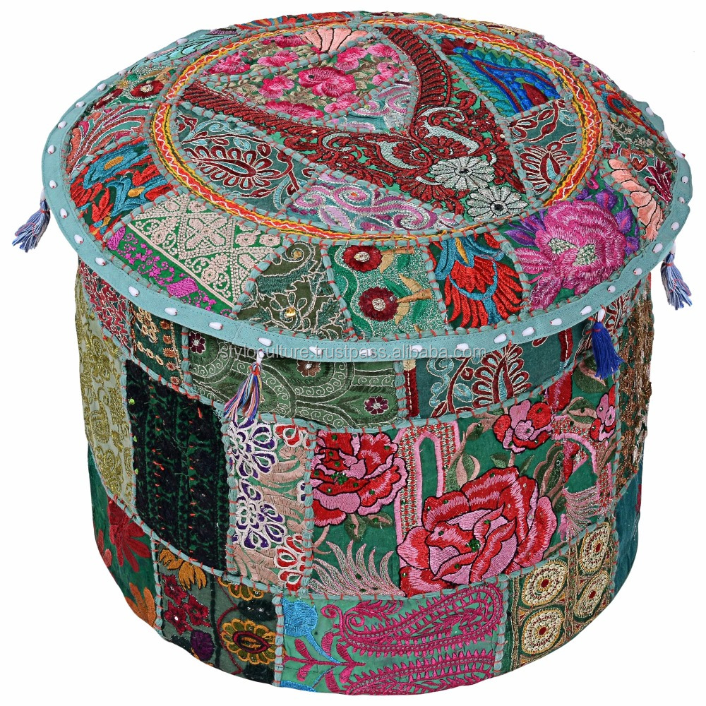Wholesale Ottoman Covers Ottoman Pouf Cover Sari Patchwork Embroidery Floor Cushion Home Textile Foot Stool Footstool