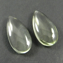 2 pcs Green Amethyst 24 Cts, 12X24mm Pear Smooth Briolette semi precious stones for jewelry SI0083