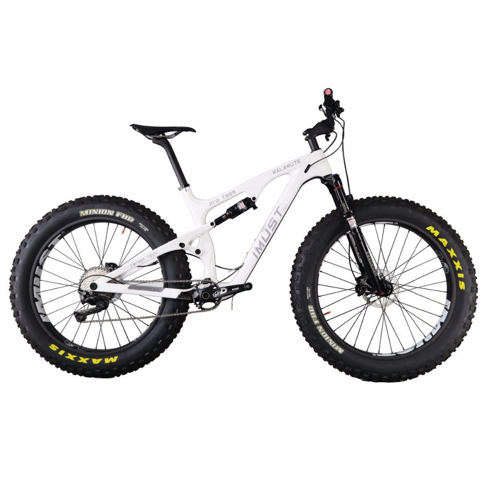 "IMUST Carbon Full Suspension Fat Tire Bike Snow Malamute 18"" Shimano XT Groupset"