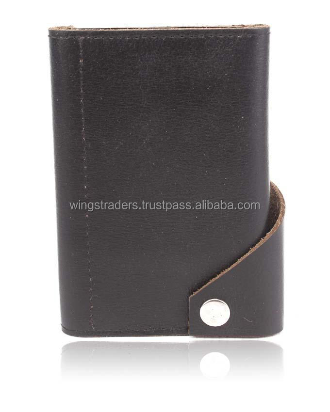 Black Leather 2 Fold Card Holder plus phone and Smart Phone Holder