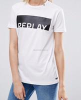 Custom embroidery logo print women t shirt design 100% cotton