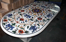 Oval Gemstone Inlaid Marble Dining Table Top Pietra Dura Inlaid Exclusive Table Top