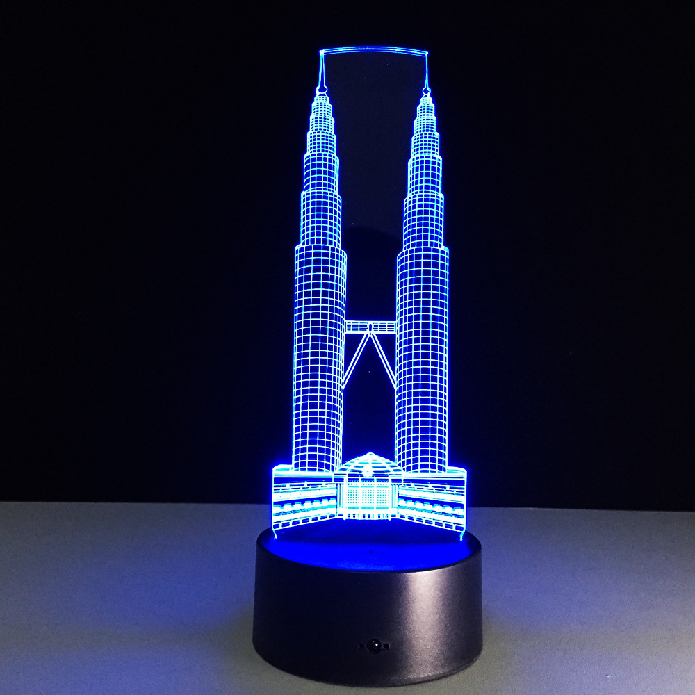 double-tower architecture USB + battery operated 3d illusion acrylic led night light lamp with touch switch table decorations