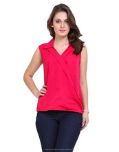 100% Polyester Ladies Fancy Sleeveless Pink Color Top manufacturer In India