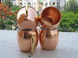 4 PCS SET FDA APPROVED BARREL HAMMERED FINISH MOSCOW MULE PURE COPPER MUG, BPA FREE PURE COPPER/LAB TESTED/MADE IN INDIA