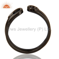 Black Rhodium Plated 925 Silver Rings Wholesale Womens Plain Silver Rings Jewelry Manufacturers