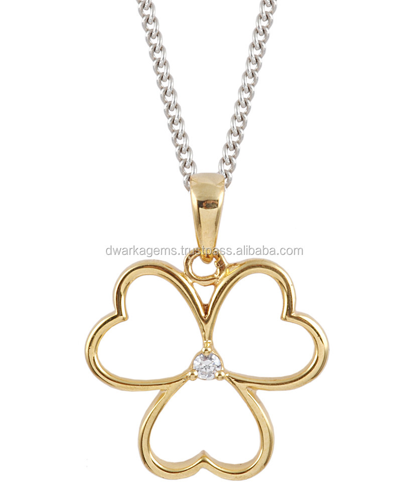 Silver floral charm pendant for necklace gold plated 925 sterling silver pendant