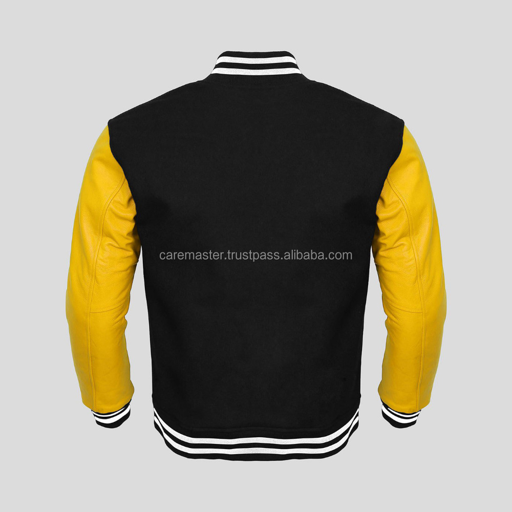 OEM Service wholesale mens varsity jacket with real leather sleeves With Leather Sleeves
