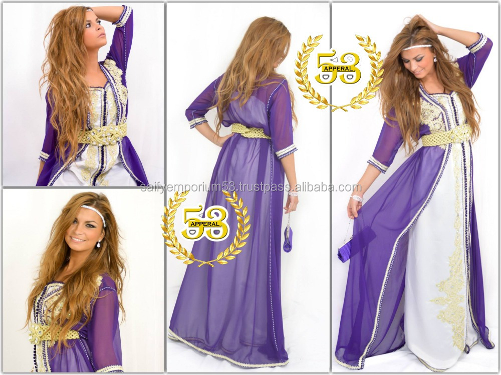 New Arrivals 2016-17 Purple Glamorous Caftan Look Elegance Hand Embrodery Stone, Crystal Beads,Pearls on It For European Girl
