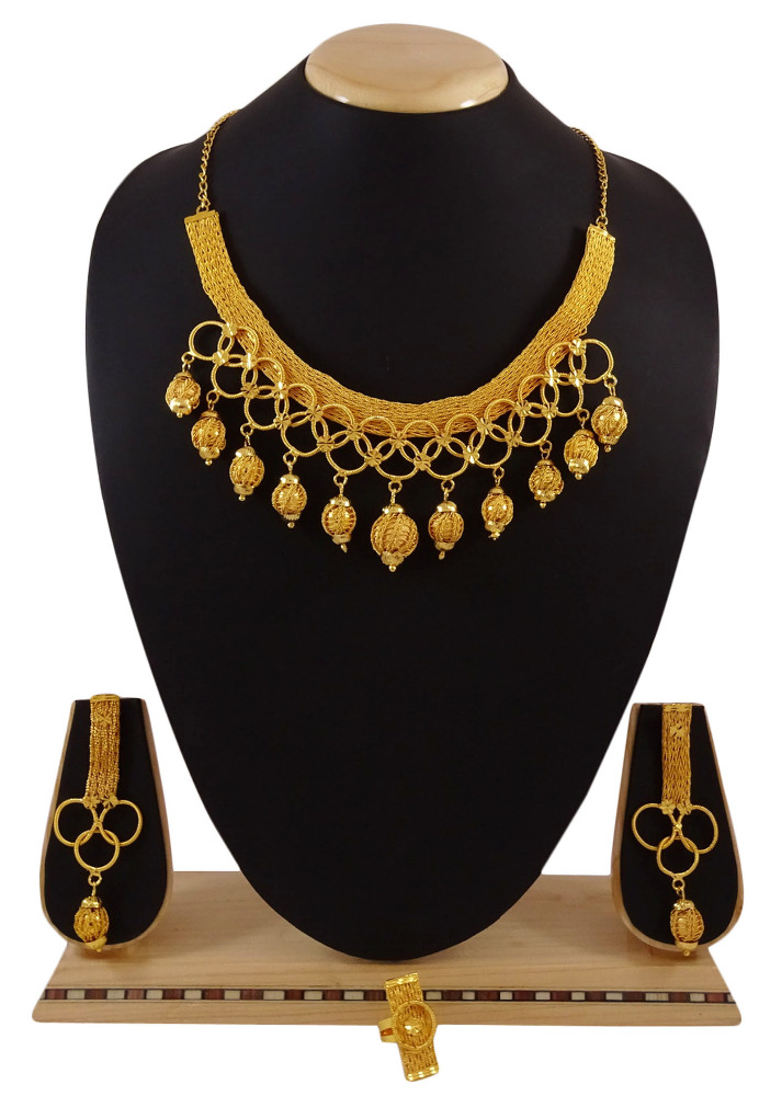 18K Goldplated Ethnic Bollywood 3Pcs Designer Necklace Set Wedding Jewelry IMRB-BNG148A