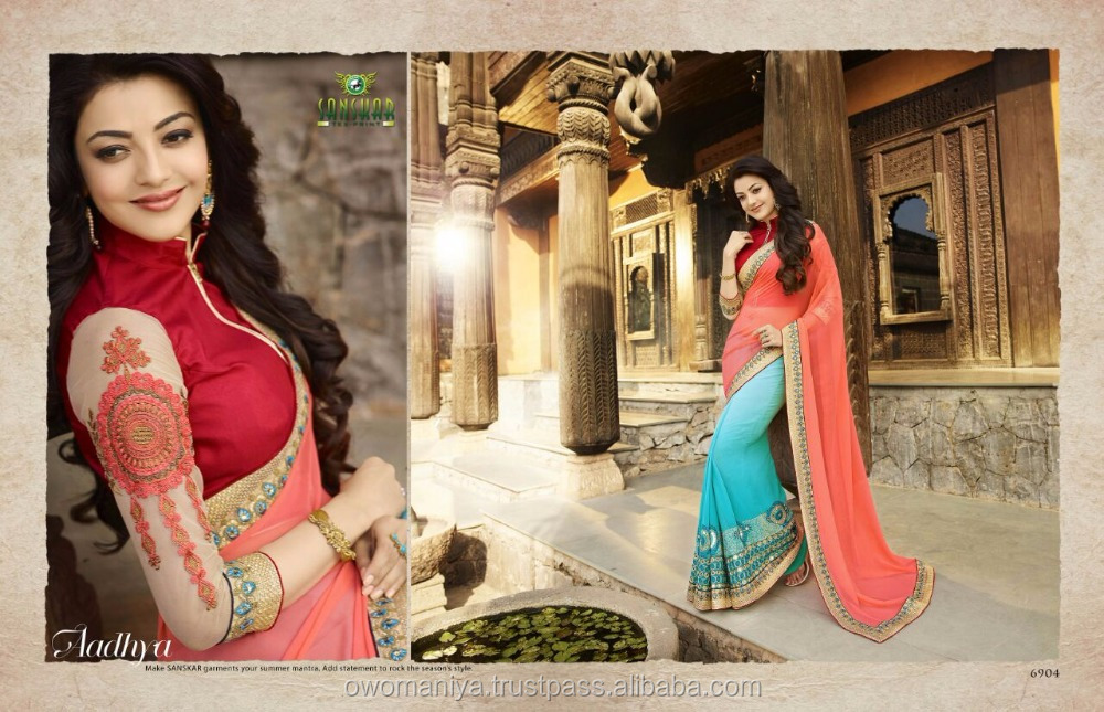 fancy georgette with lace work and fancy blouse saree