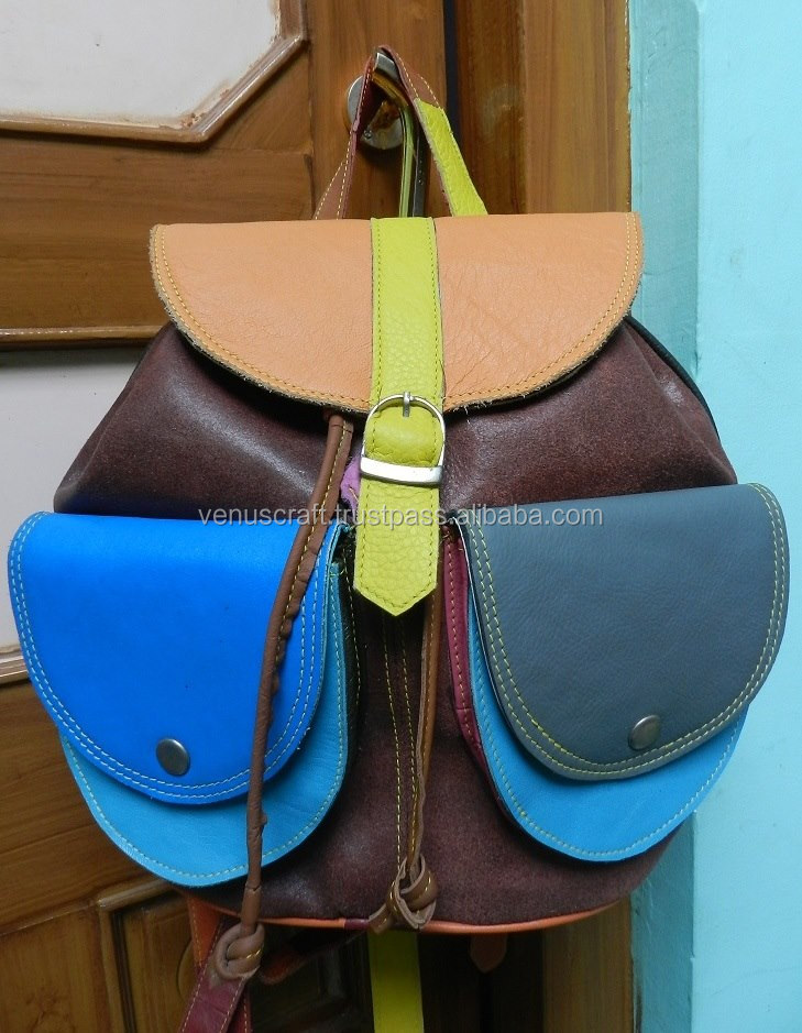 Leather backpack rucksack in colorful leather