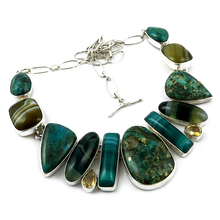 Fashion Beauty Citrine_Stripped Onyx_Chrysocolla 925 Sterling Silver Choker Necklace, Fashion Silver Jewelry, Silver Jewelry 925
