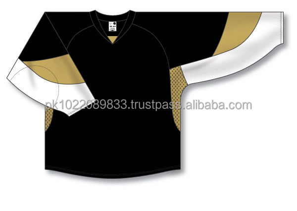Custom Design Cut & Sewn Black with Vegas Gold/White Panels Ice Hockey Jersey/Shirt