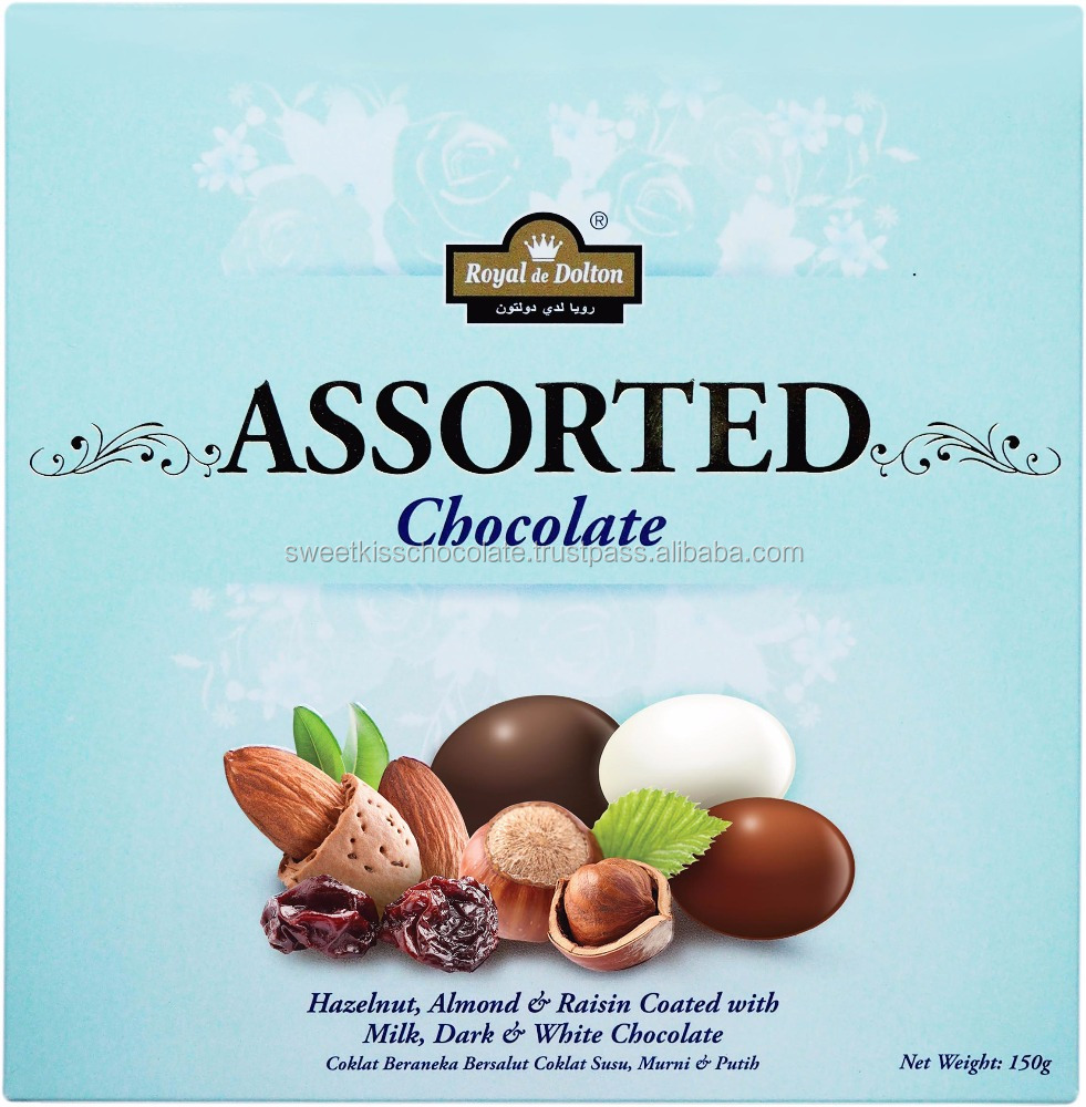 Assorted White, Dark and Milk Chocolate with Hazelnut , Raisin and Almond