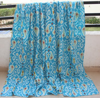 Kantha Cotton Handmade Quilts , Ikat , Tropical , Printed, Hand Block Printed , Patchwork