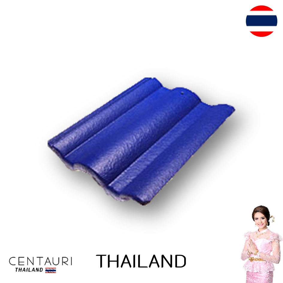 33*43.8 cm concrete carved new blue super blue purple full body Thai concrete roof tiles and roof tiles from Thailand