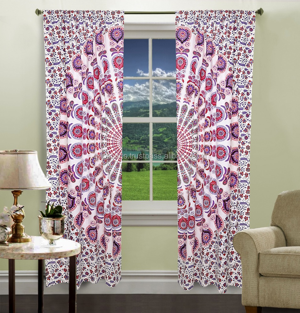 Cotton Curtain Mandala Design 2 PC Curtain Set Door Hanging Window Treatment Curtain