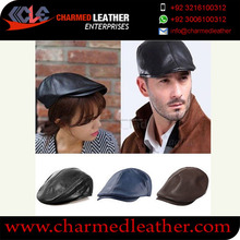 Leather Flat Cap / LEATHER GOLF CAP BLACK DRIVING HATS NEWSBOY