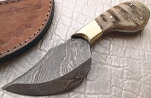 Custom Hand Made Damascus Steel Skinner Knife with Leather Sheath