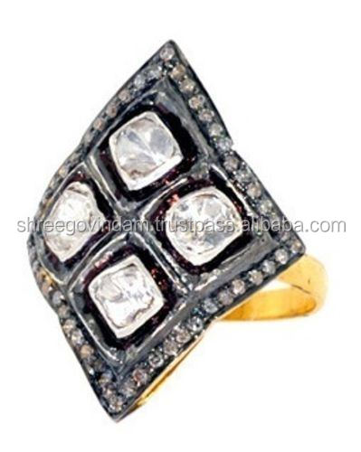 Victorian 1.10 Ct Rose cut Antique Diamond 925% Sterling Silver Engagement Ring