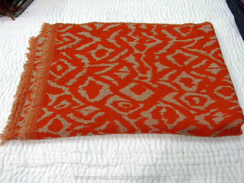 indian handmade handprinted australian merino wool blanket throw shawals.