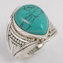 TURQUOISE (S) Gemstone 925 Pure Sterling Silver Men's Fashion Ring Size US 6.75