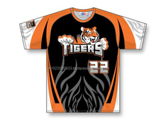 Custom Sublimated Half Sleeves O-Neck Tigers Baseball Jersey/T-Shirt made of Moisture Wicking Cool Polyester fabric
