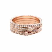 Natural Diamond Setted 18kt Rose Gold Band Ring