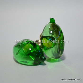 GREEN COLOR GLASS DOOR KNOBS