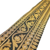 Indian Embroidered Sari Border Lace 10.1 Cm Wide Black Crafting Trim By The Yard