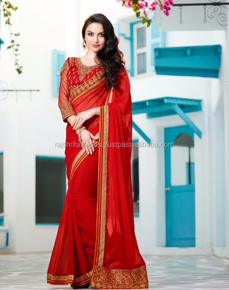 Red color with Zari double Lace & Red Lace Net Elegance Look Designer Sarees