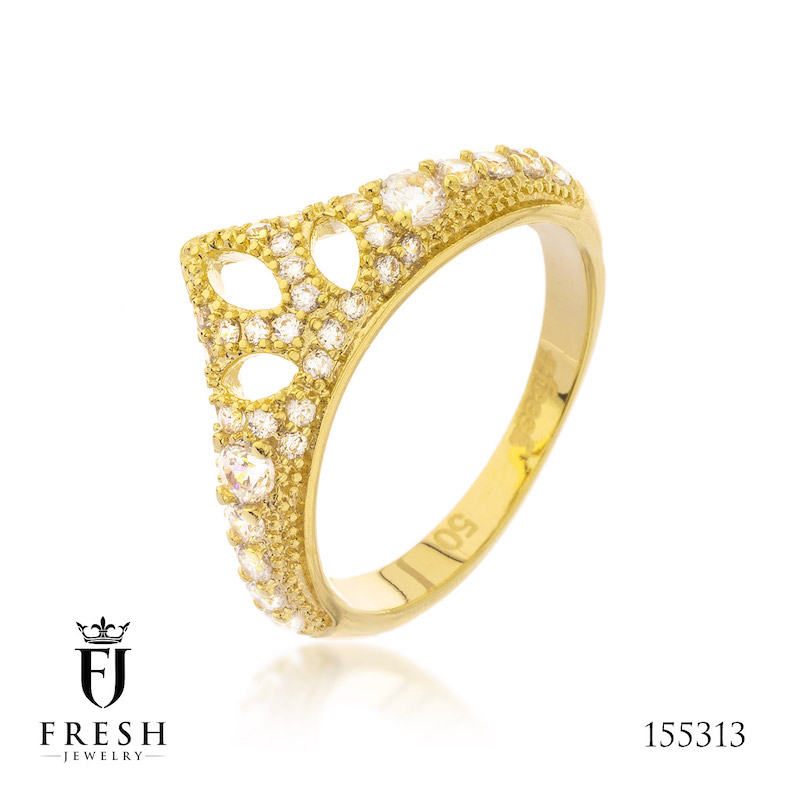155313 Crown Gold Jewellery Fashion Gold Plated Ring - Gold Jewellery Manufacturer, CZ Cubic Zircon AAA