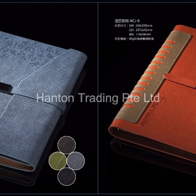 Custom A5 size Perfect Bound Soft Cover PU Leather Notebook with Elastic Closure