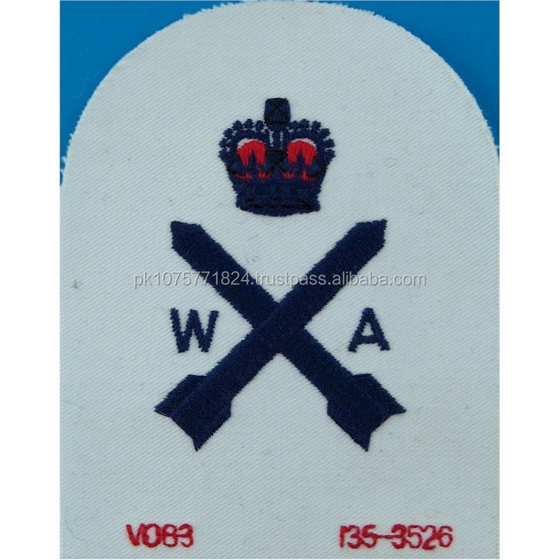 machine embroidery badges Weapons Analyst + Crown Trade Blue On White Queen's Crown. Embroidered Naval Branch, rank or miscella