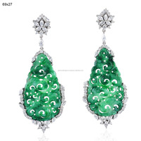 wholesale Gemstone Jade Carved Earring Jewelry, 18k White Gold Art Deco Handmade Jewelry Earring, Designer Women Fashion Jewelry