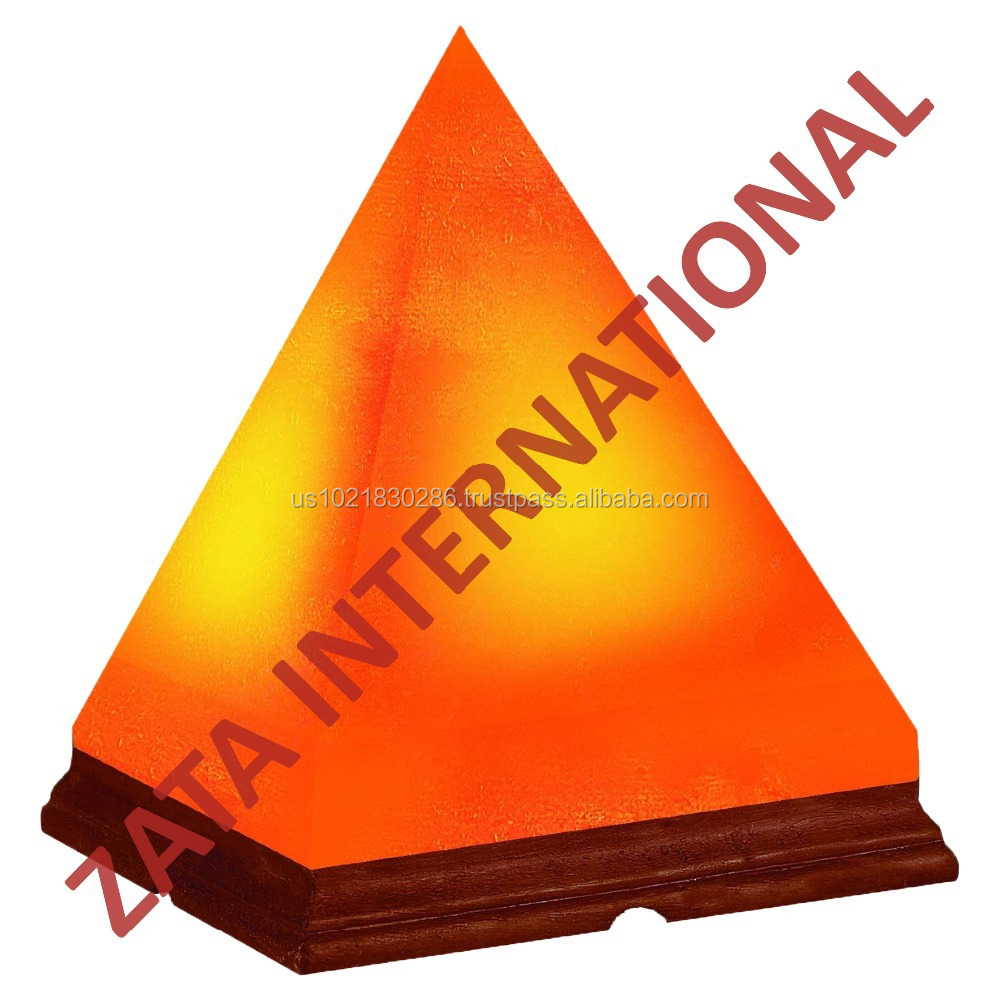 "Himalayan Rock Crystal Salt Lamp Pyramid Shape Natural Negative Ions Generator Size 7"" x 6"" x 6"""