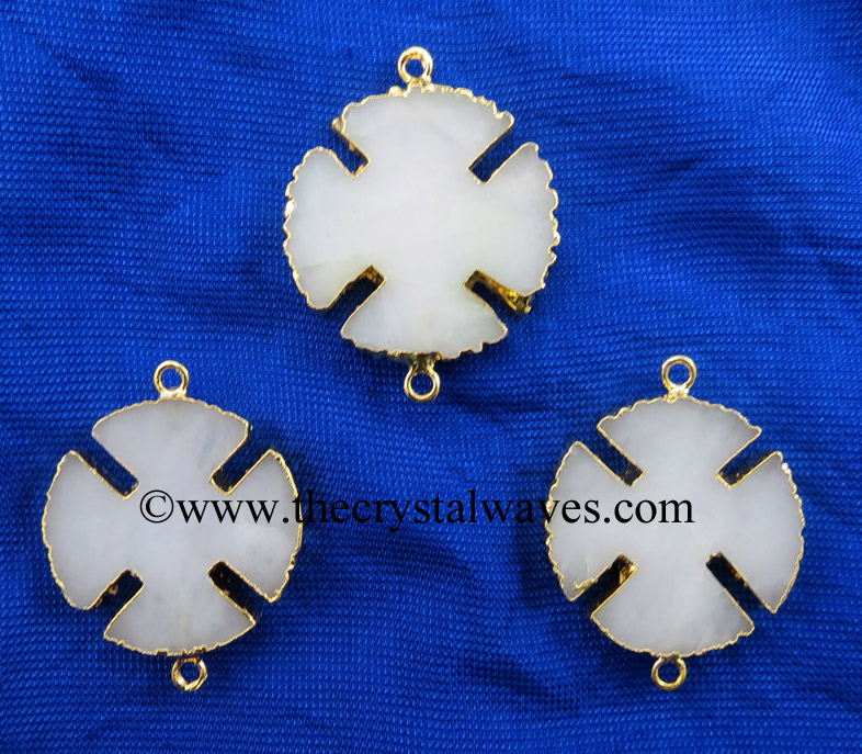 White Agate / Aventurine Viking's Cross Gold Electroplated Connector / Pendant
