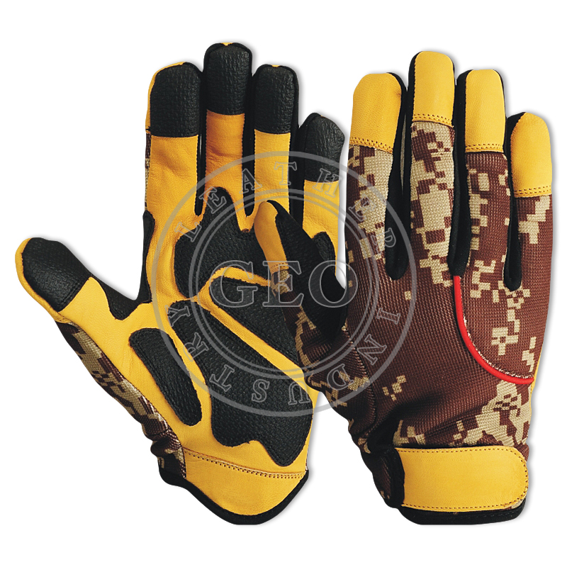 Heavy Duty Camouflage Colors / Pakistan Factory / Industrial Safety Mechanics Gloves
