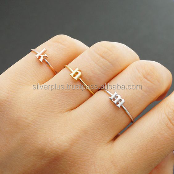 18k Solid Gold Alphabet Letter Initial Ring, this ring Availalbe in all fonts ( a - z )