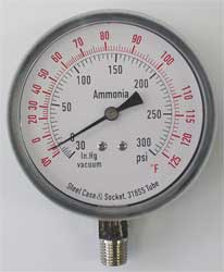 Compound Gauge Ammonia 3 1/2 In 300 Psi