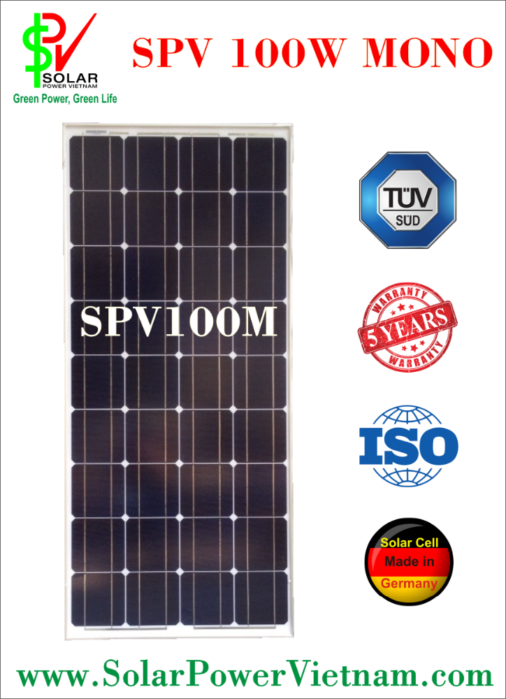 SPV 100w Mono Solar Panel with AR Coating glass, certificated by ISO
