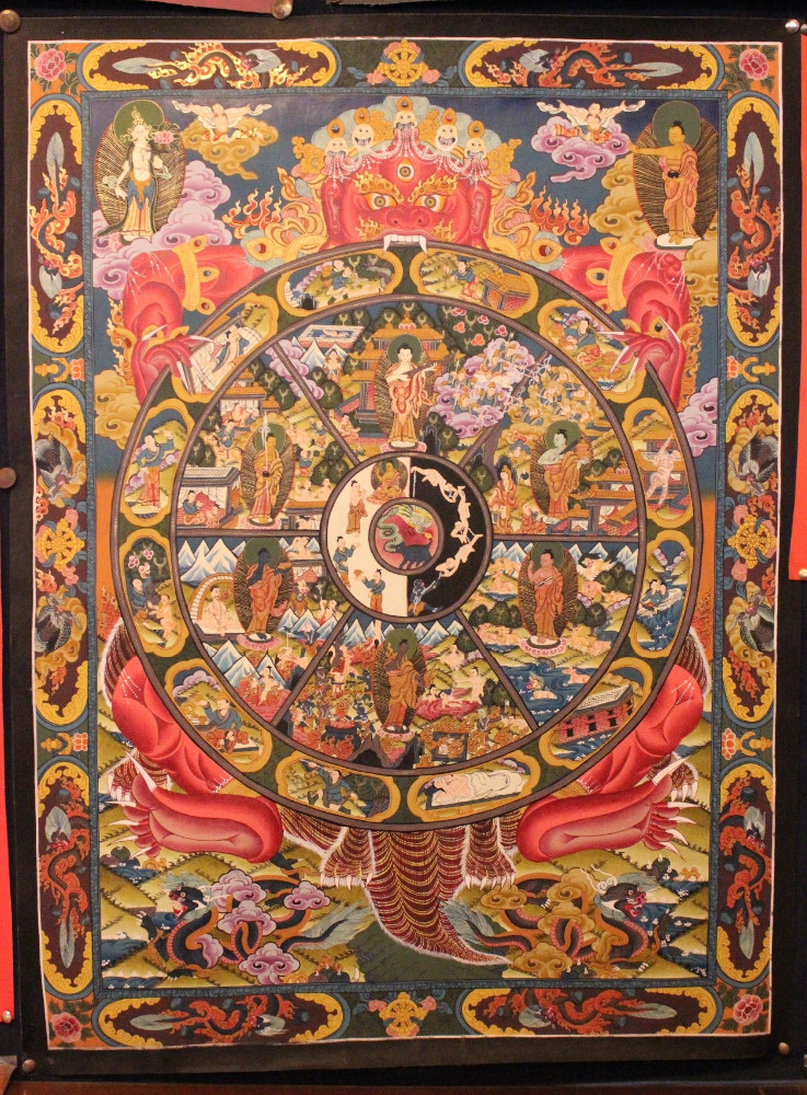 Wheel of Life Tibetan Thangka - High quality buddhist Paintings Hand Painted in Nepal